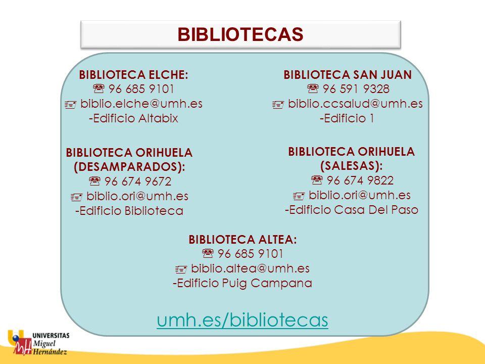BIBLIOTECA SAN JUAN  96 591 9328  biblio.ccsalud@umh.es -Edificio 1