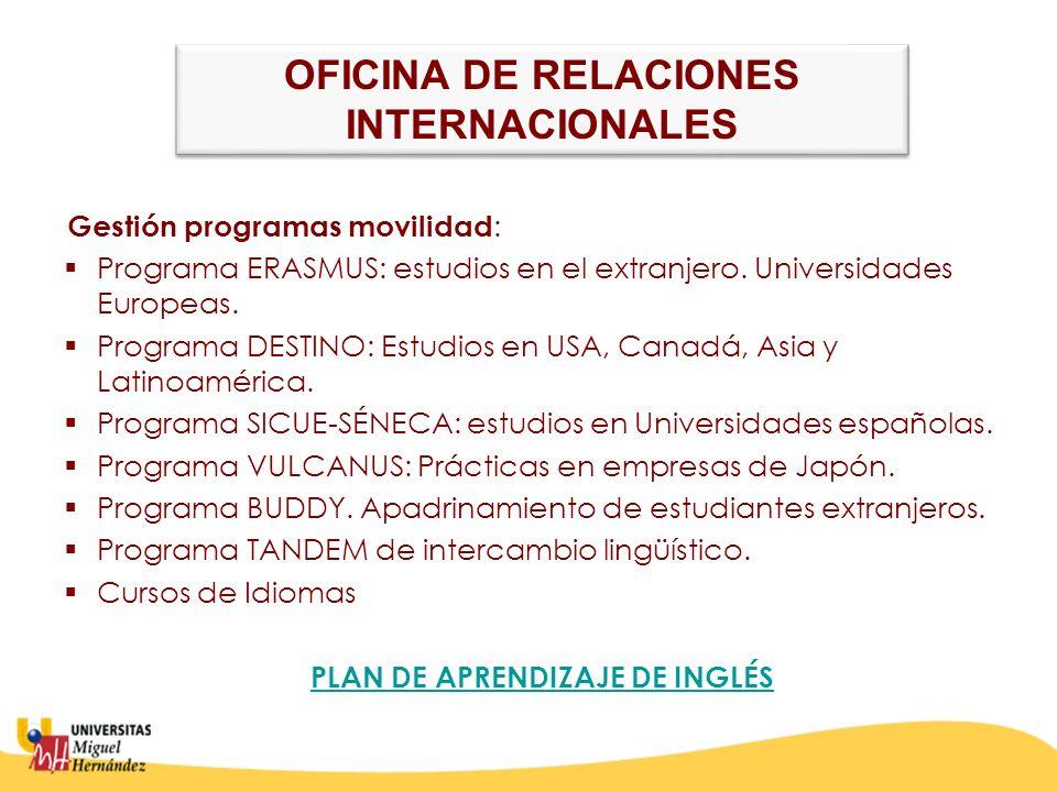 OFICINA DE RELACIONES INTERNACIONALES PLAN DE APRENDIZAJE DE INGLÉS