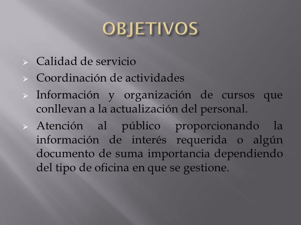 OBJETIVOS Calidad de servicio Coordinación de actividades