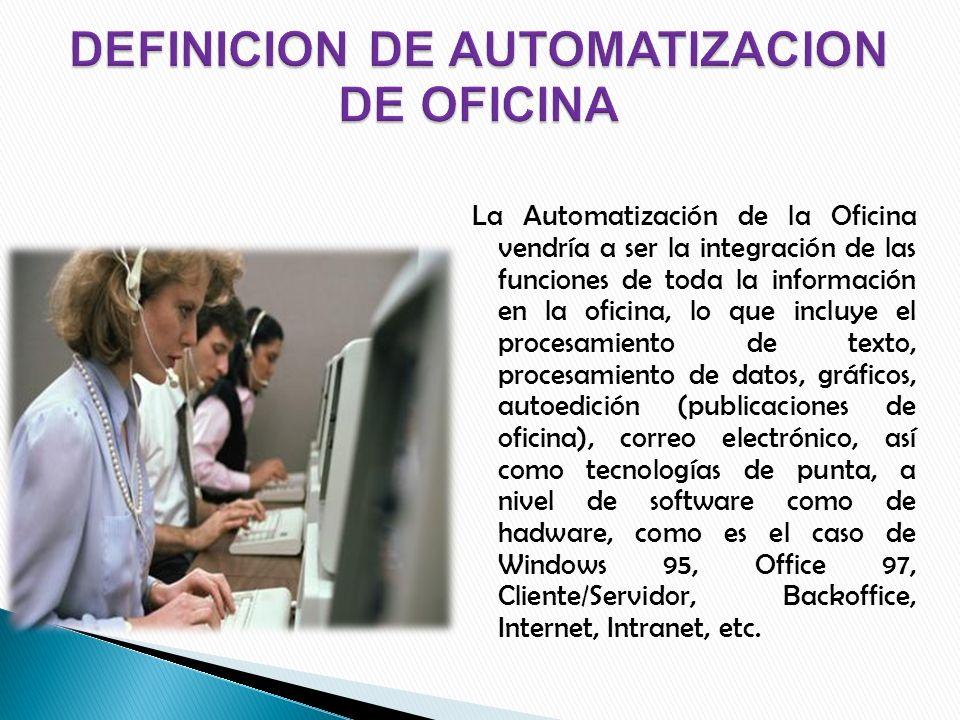 DEFINICION DE AUTOMATIZACION DE OFICINA