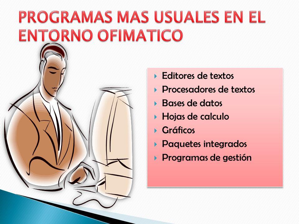PROGRAMAS MAS USUALES EN EL ENTORNO OFIMATICO