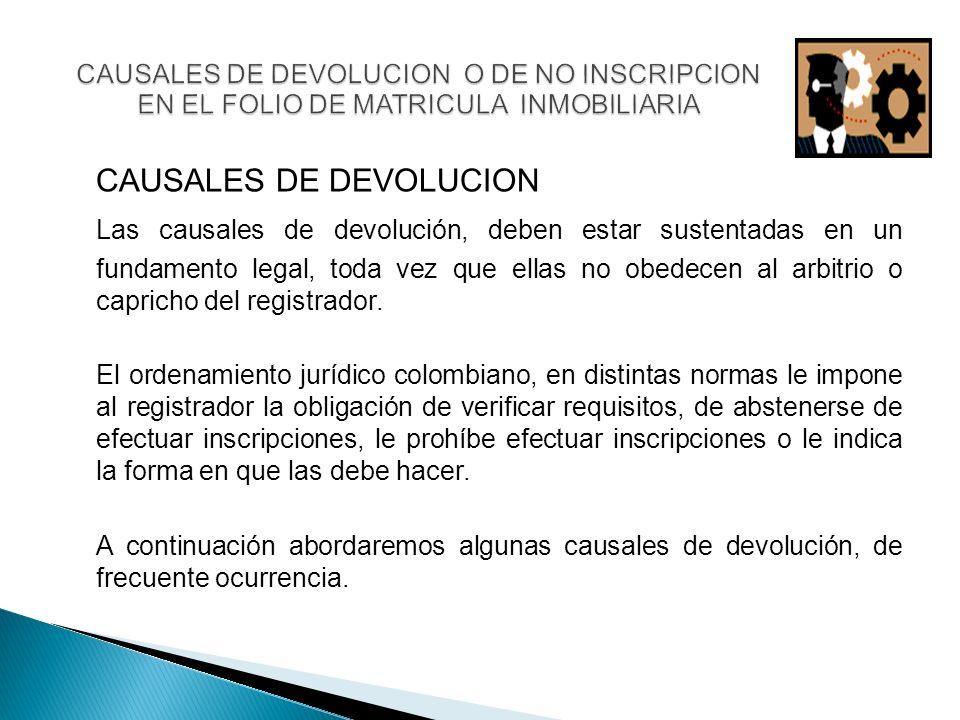 CAUSALES DE DEVOLUCION