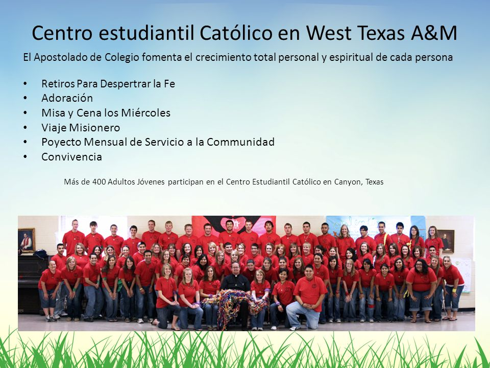 Centro estudiantil Católico en West Texas A&M