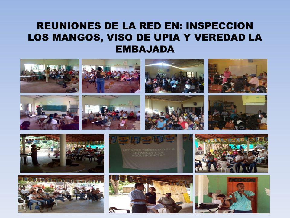 REUNIONES DE LA RED EN: INSPECCION LOS MANGOS, VISO DE UPIA Y VEREDAD LA EMBAJADA