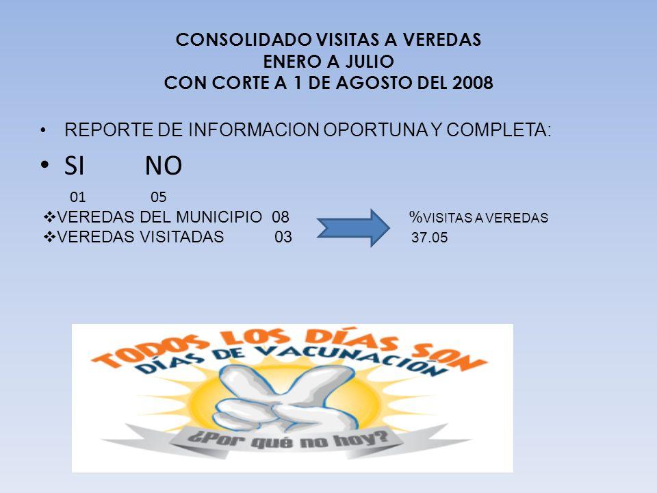CONSOLIDADO VISITAS A VEREDAS ENERO A JULIO CON CORTE A 1 DE AGOSTO DEL 2008
