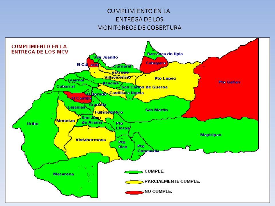 CUMPLIMIENTO EN LA ENTREGA DE LOS MONITOREOS DE COBERTURA