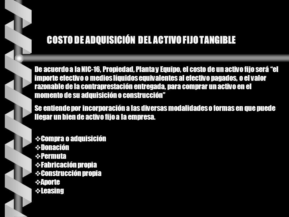 COSTO DE ADQUISICIÓN DEL ACTIVO FIJO TANGIBLE