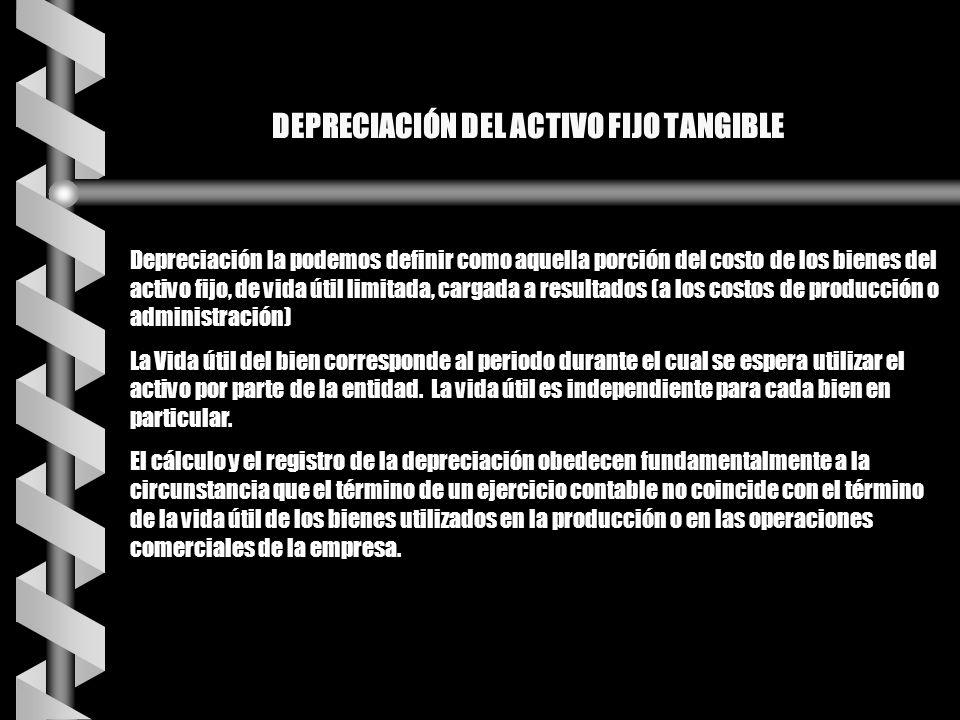 DEPRECIACIÓN DEL ACTIVO FIJO TANGIBLE