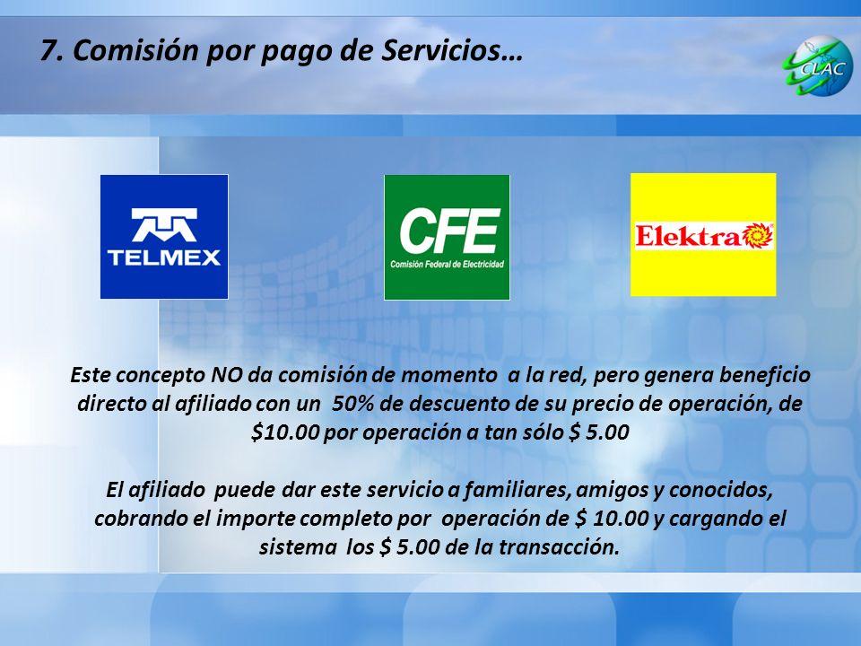 7. Comisión por pago de Servicios…