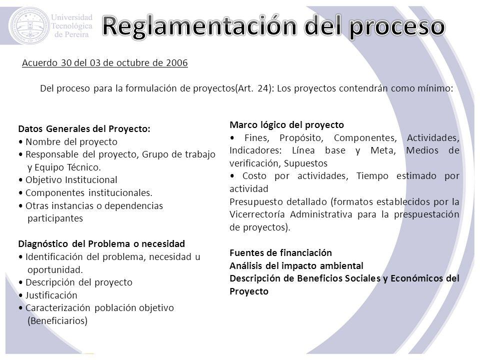 Reglamentación del proceso