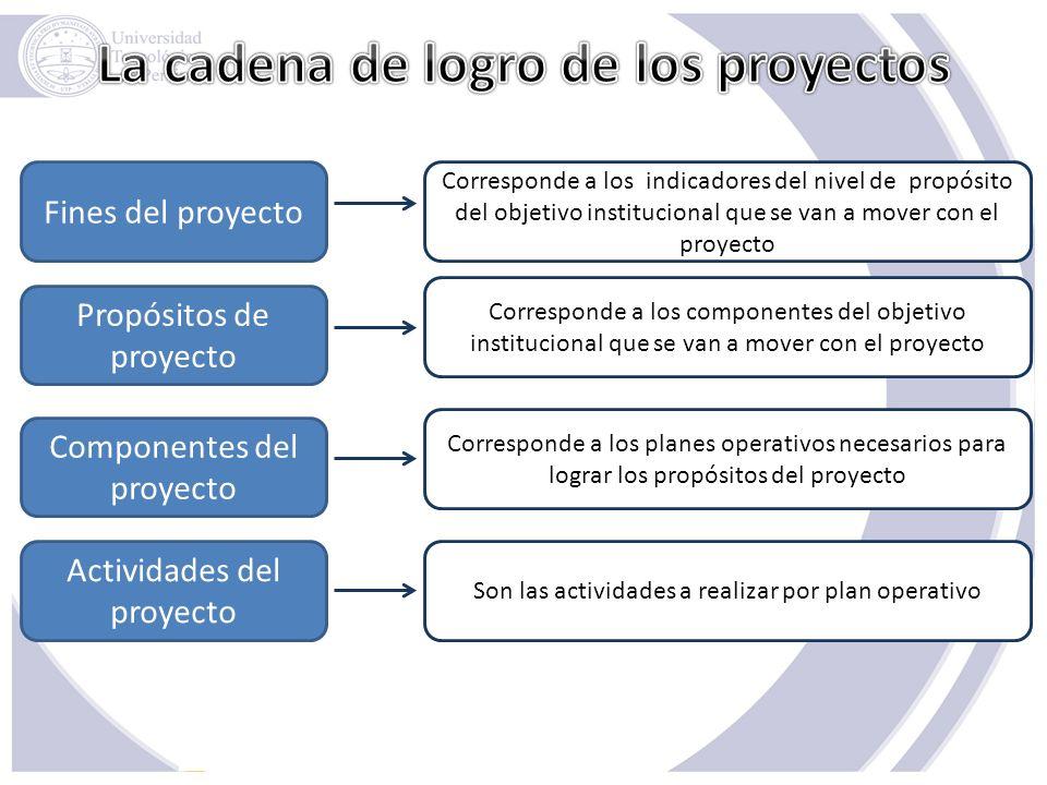 La cadena de logro de los proyectos