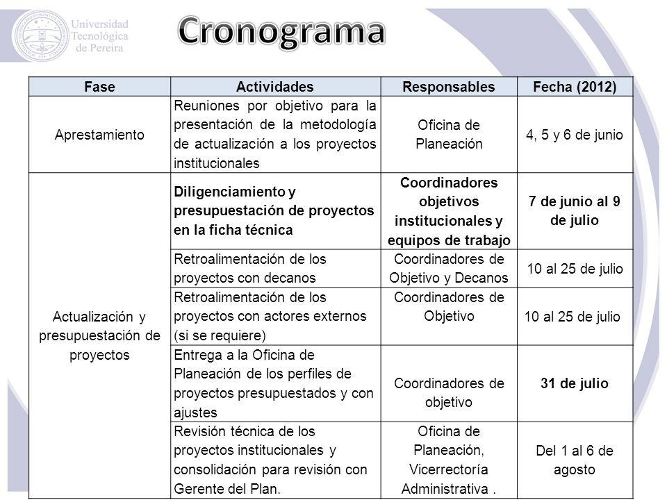Coordinadores objetivos institucionales y equipos de trabajo