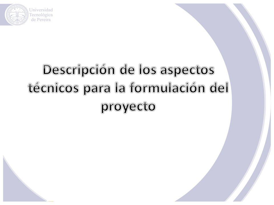 Descripción de los aspectos técnicos para la formulación del proyecto