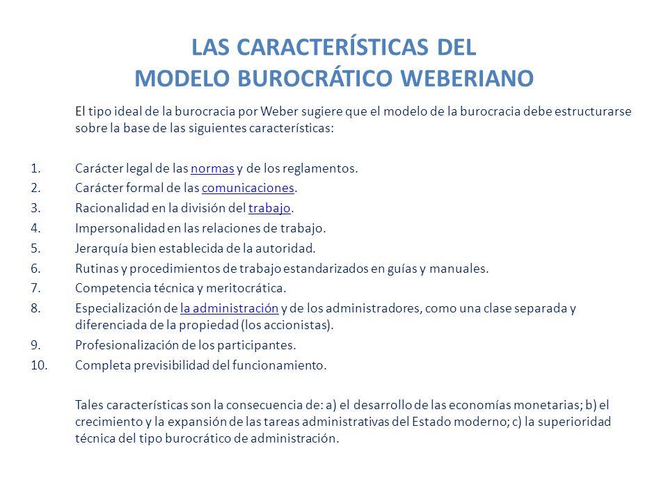 LAS CARACTERÍSTICAS DEL MODELO BUROCRÁTICO WEBERIANO