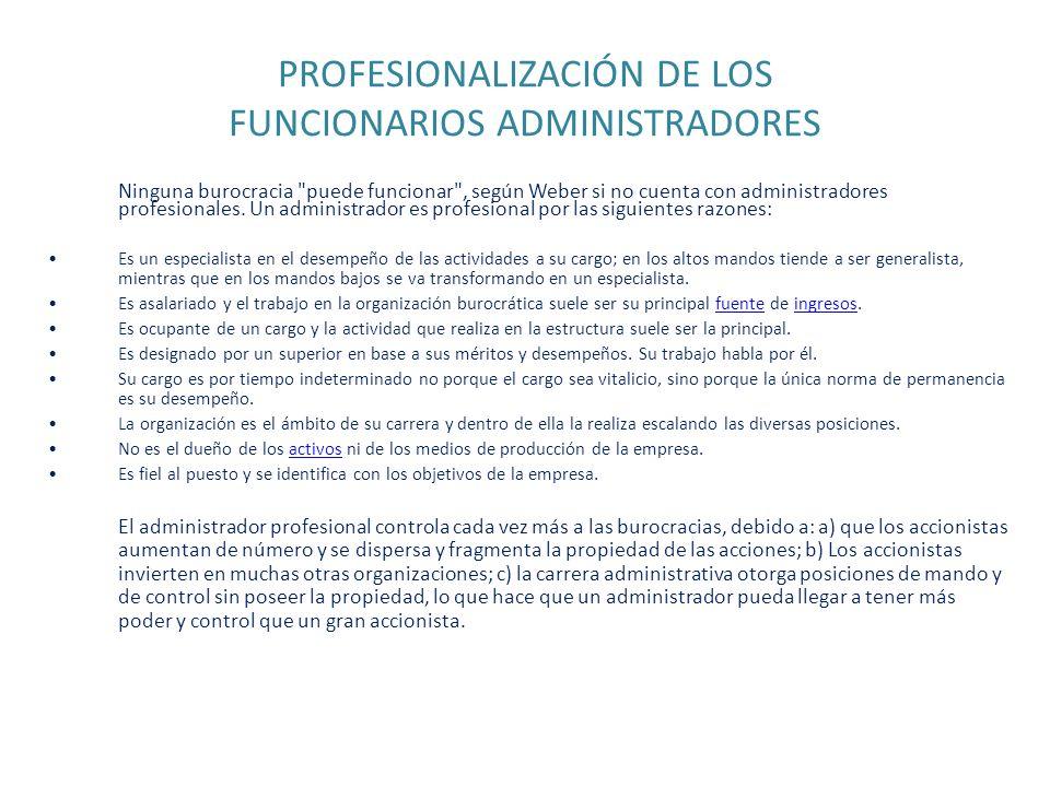 PROFESIONALIZACIÓN DE LOS FUNCIONARIOS ADMINISTRADORES