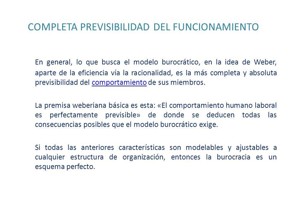 COMPLETA PREVISIBILIDAD DEL FUNCIONAMIENTO