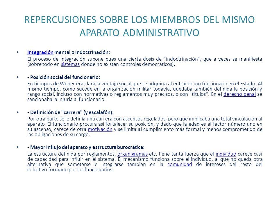 REPERCUSIONES SOBRE LOS MIEMBROS DEL MISMO APARATO ADMINISTRATIVO