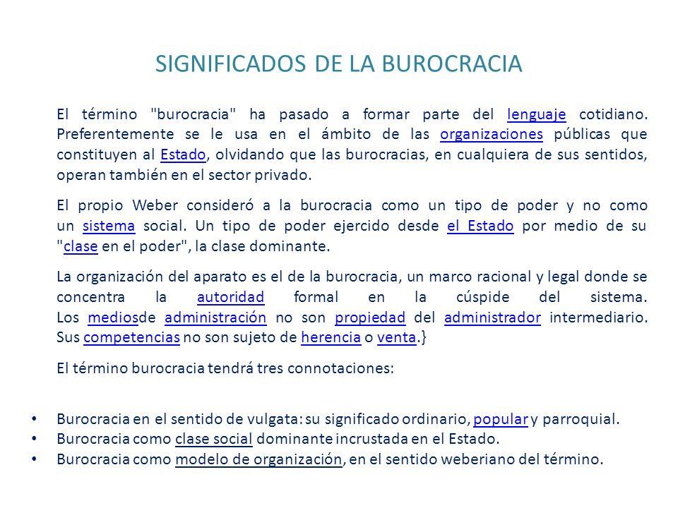 SIGNIFICADOS DE LA BUROCRACIA