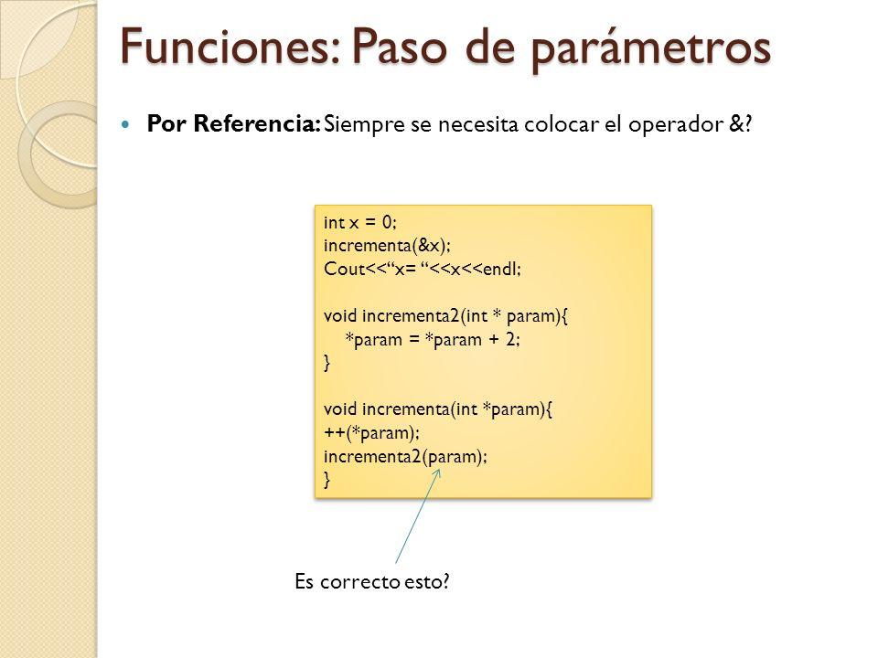 Funciones: Paso de parámetros