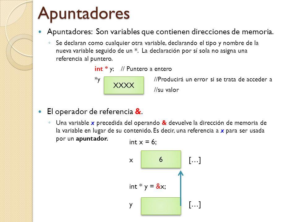 Apuntadores Apuntadores: Son variables que contienen direcciones de memoria.