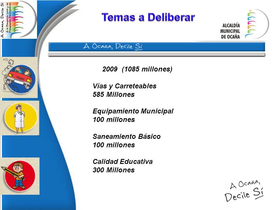 Temas a Deliberar 2009 (1085 millones) Vías y Carreteables