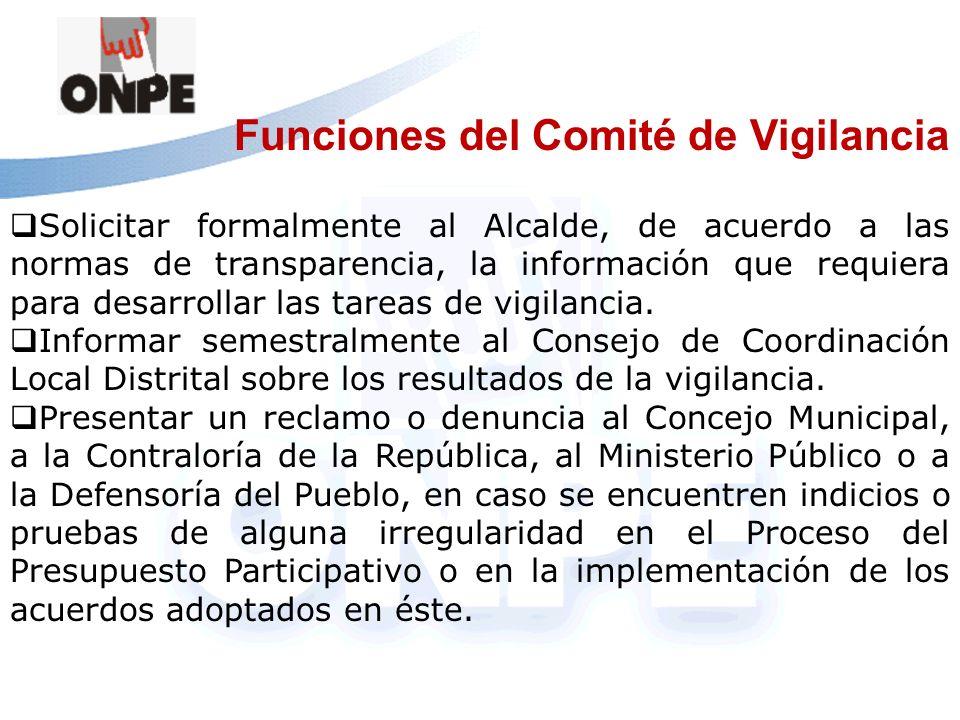 Funciones del Comité de Vigilancia
