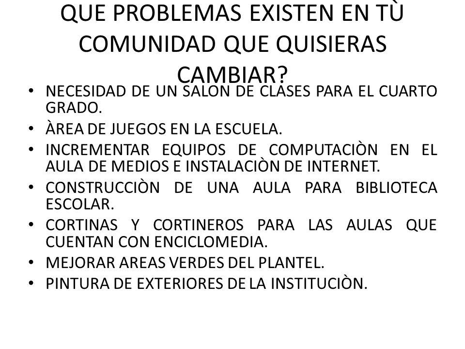 QUE PROBLEMAS EXISTEN EN TÙ COMUNIDAD QUE QUISIERAS CAMBIAR