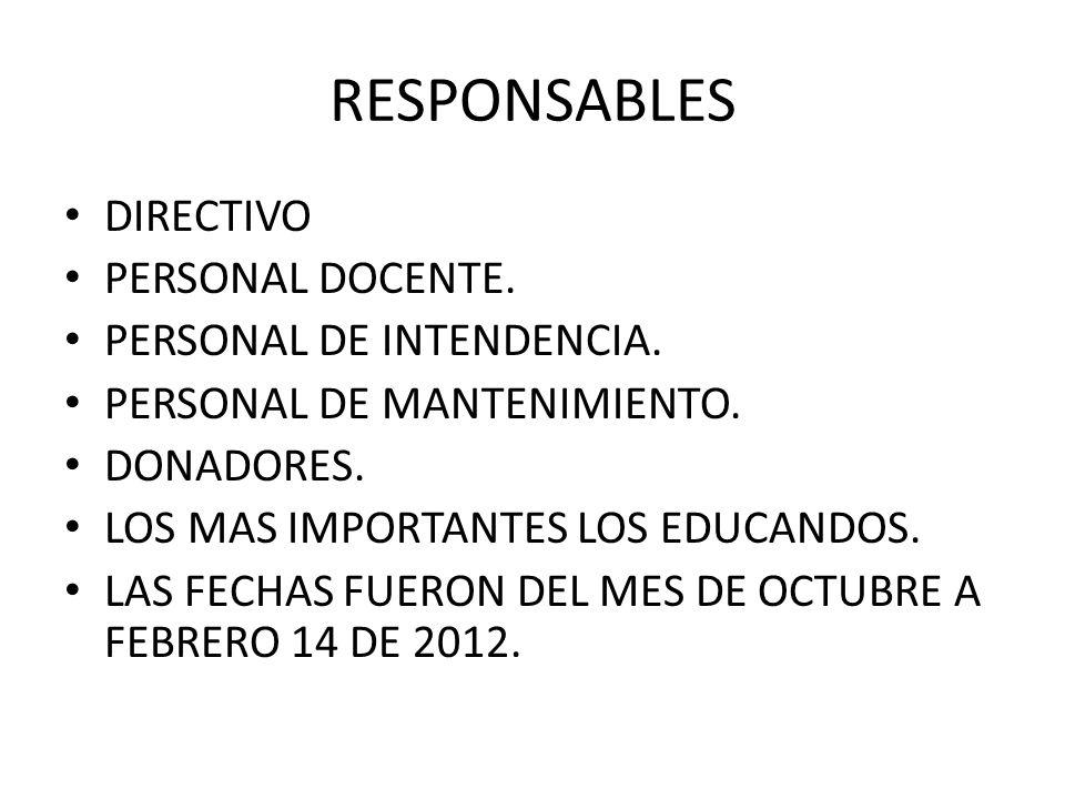 RESPONSABLES DIRECTIVO PERSONAL DOCENTE. PERSONAL DE INTENDENCIA.
