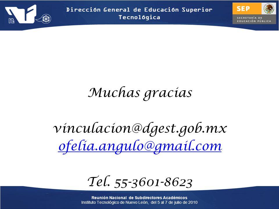 Muchas gracias vinculacion@dgest.gob.mx ofelia.angulo@gmail.com Tel. 55-3601-8623