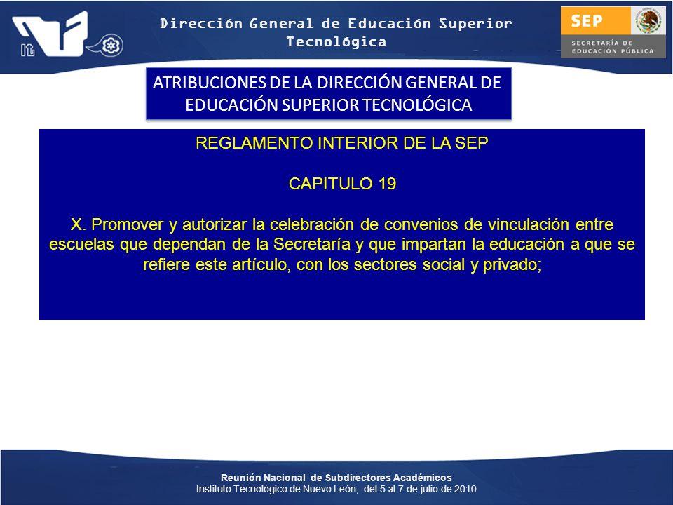 ATRIBUCIONES DE LA DIRECCIÓN GENERAL DE EDUCACIÓN SUPERIOR TECNOLÓGICA