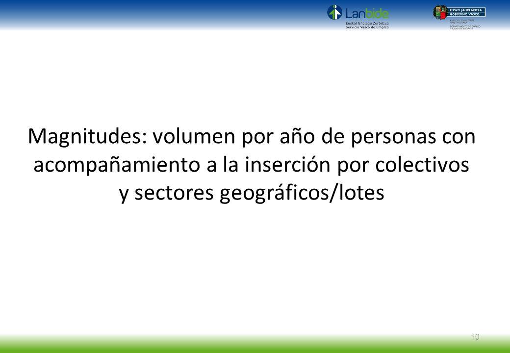 Magnitudes: volumen por año de personas con acompañamiento a la inserción por colectivos y sectores geográficos/lotes