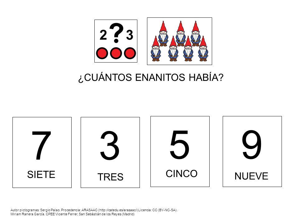 7 3 5 9 ¿CUÁNTOS ENANITOS HABÍA CINCO SIETE NUEVE TRES
