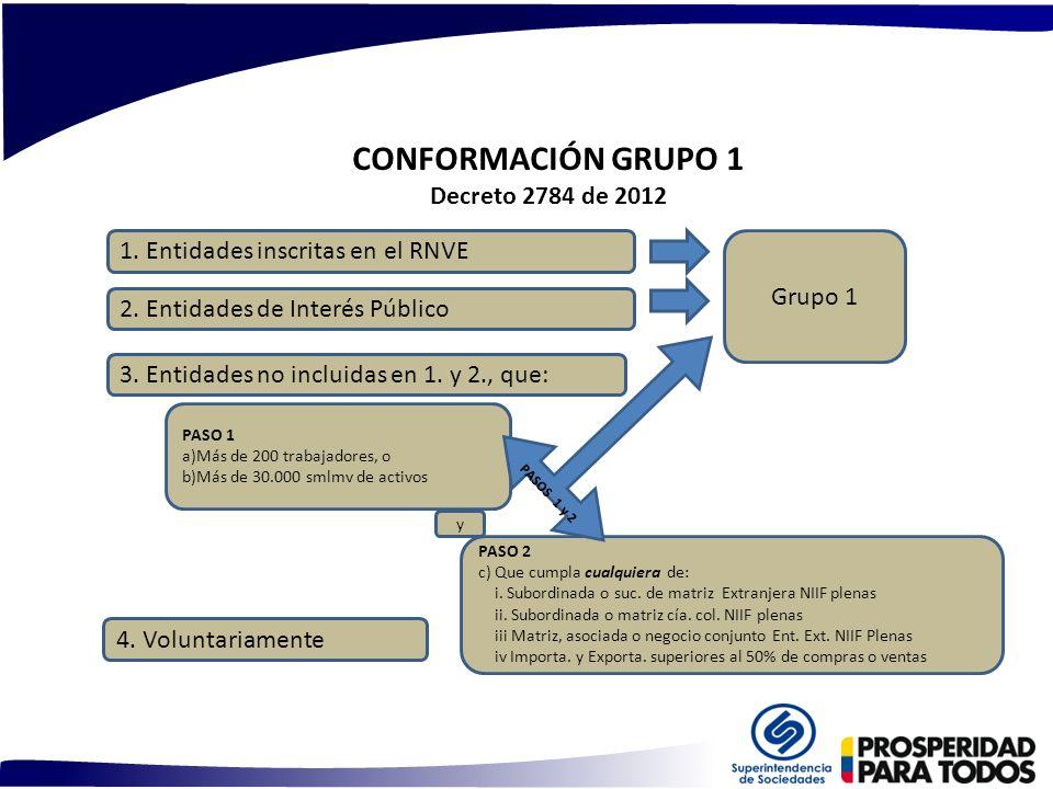 CONFORMACIÓN GRUPO 1 Decreto 2784 de 2012