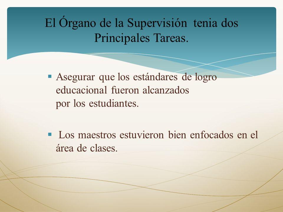 El Órgano de la Supervisión tenia dos Principales Tareas.
