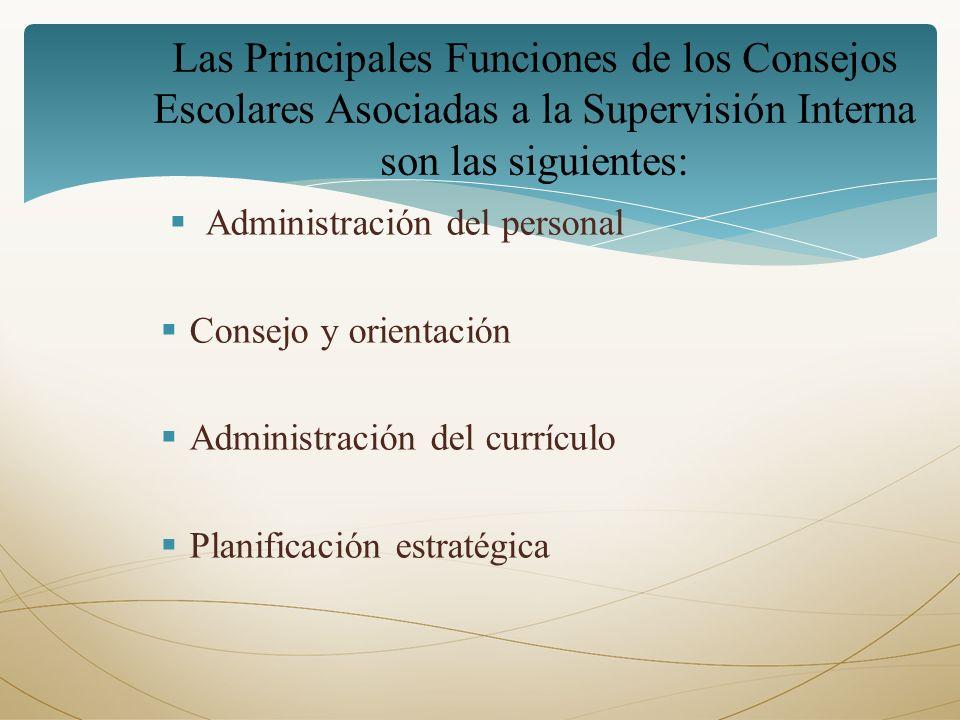 Las Principales Funciones de los Consejos Escolares Asociadas a la Supervisión Interna son las siguientes: