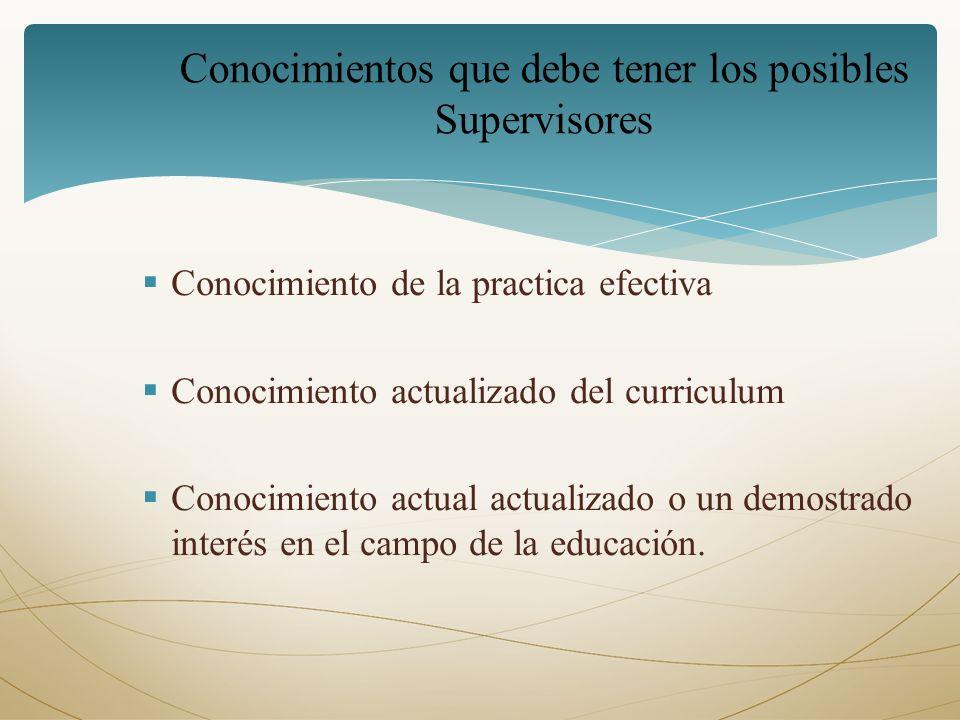 Conocimientos que debe tener los posibles Supervisores