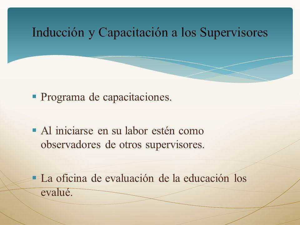 Inducción y Capacitación a los Supervisores