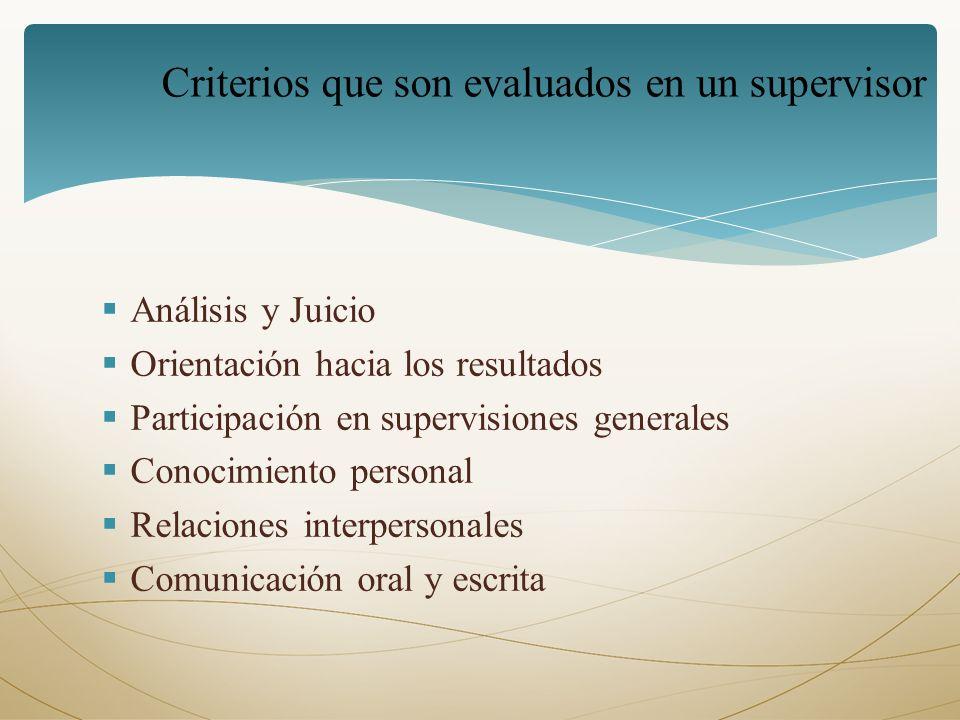 Criterios que son evaluados en un supervisor