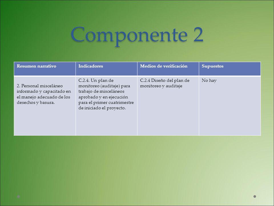 Componente 2 Resumen narrativo Indicadores Medios de verificación