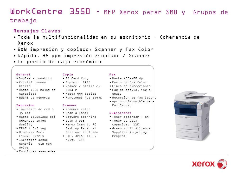 WorkCentre 3550 – MFP Xerox parar SMB y Grupos de trabajo