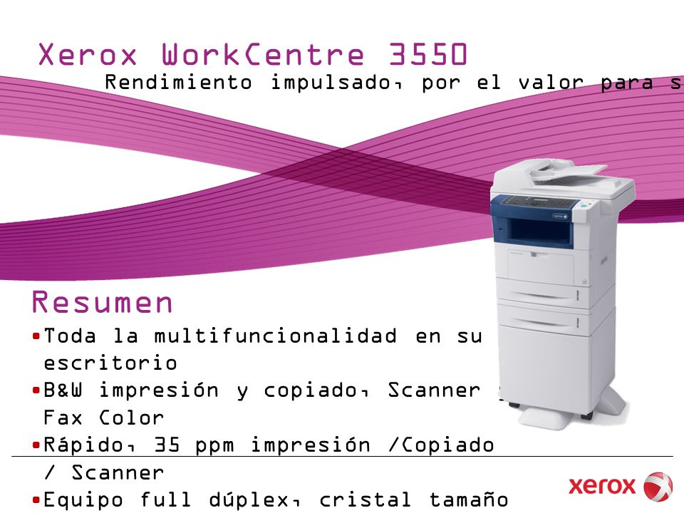 Xerox WorkCentre 3550 Resumen