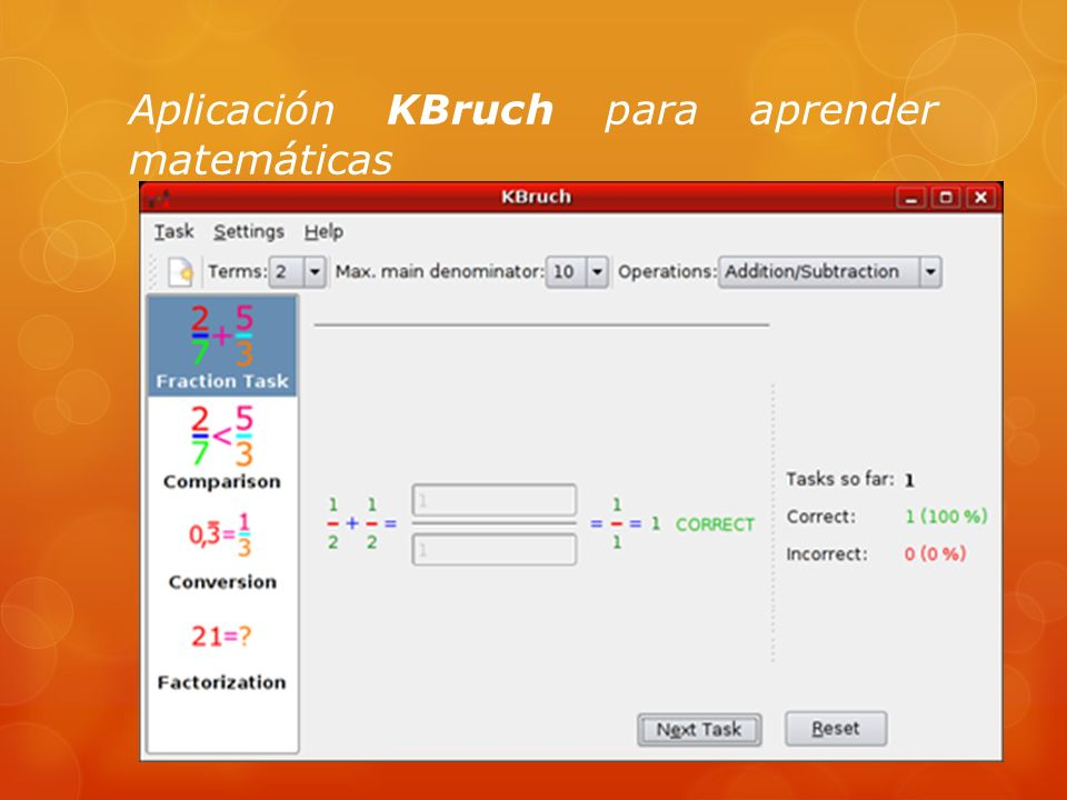 Aplicación KBruch para aprender matemáticas