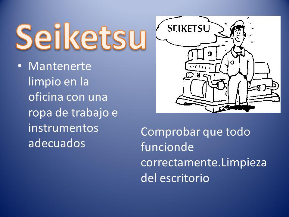 Seiketsu Mantenerte limpio en la oficina con una ropa de trabajo e instrumentos adecuados.