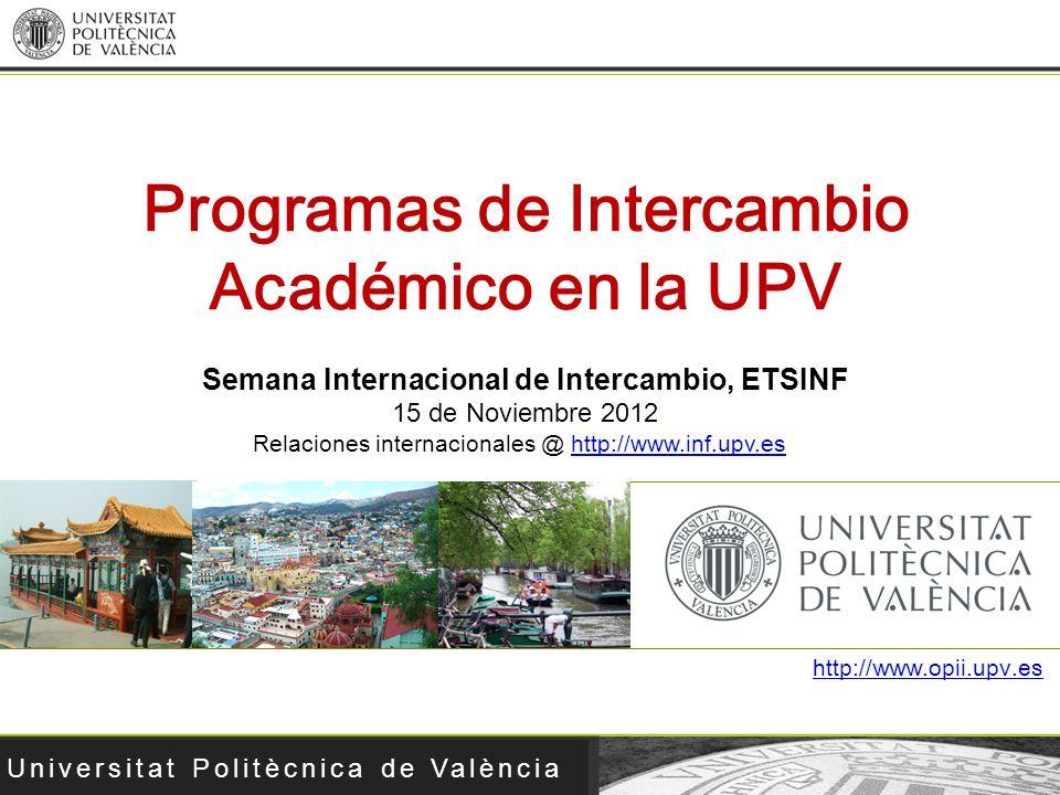 Programas de Intercambio Académico en la UPV