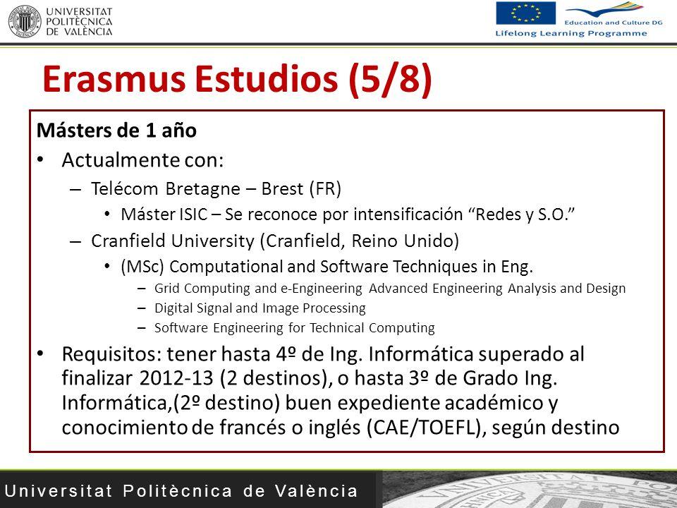 Erasmus Estudios (5/8) Másters de 1 año Actualmente con: