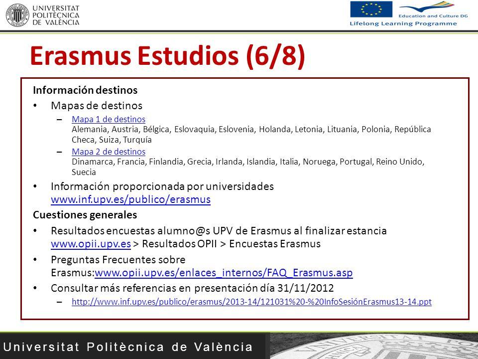 Erasmus Estudios (6/8) Información destinos Mapas de destinos