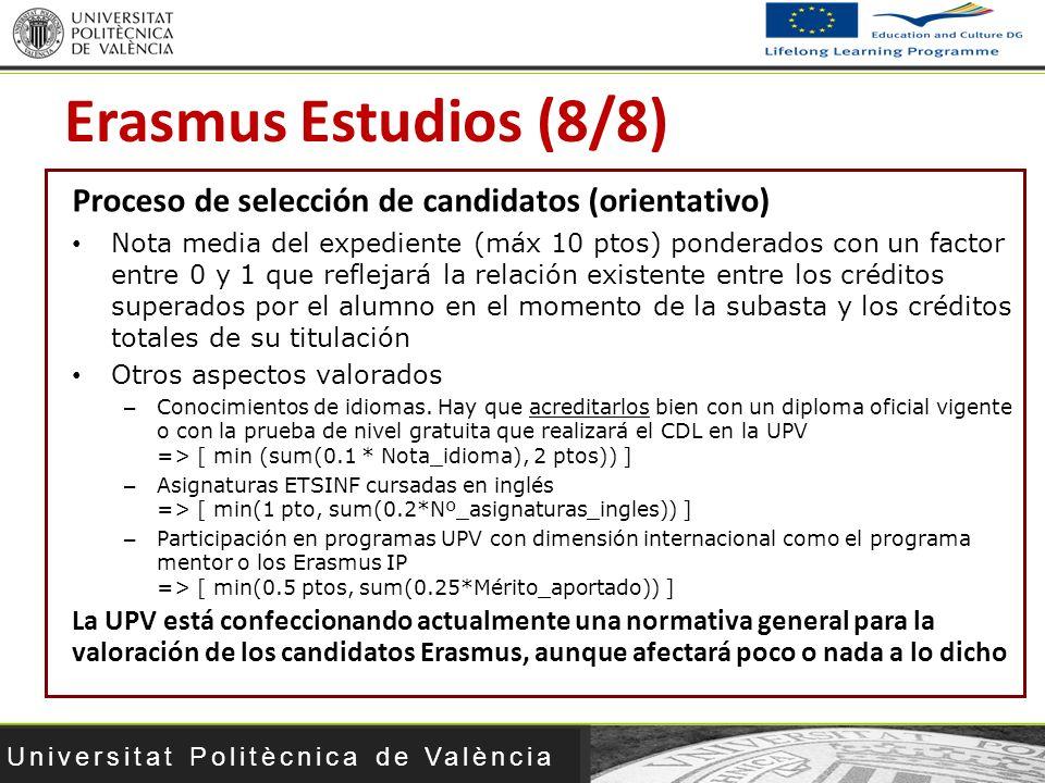 Erasmus Estudios (8/8) Proceso de selección de candidatos (orientativo)