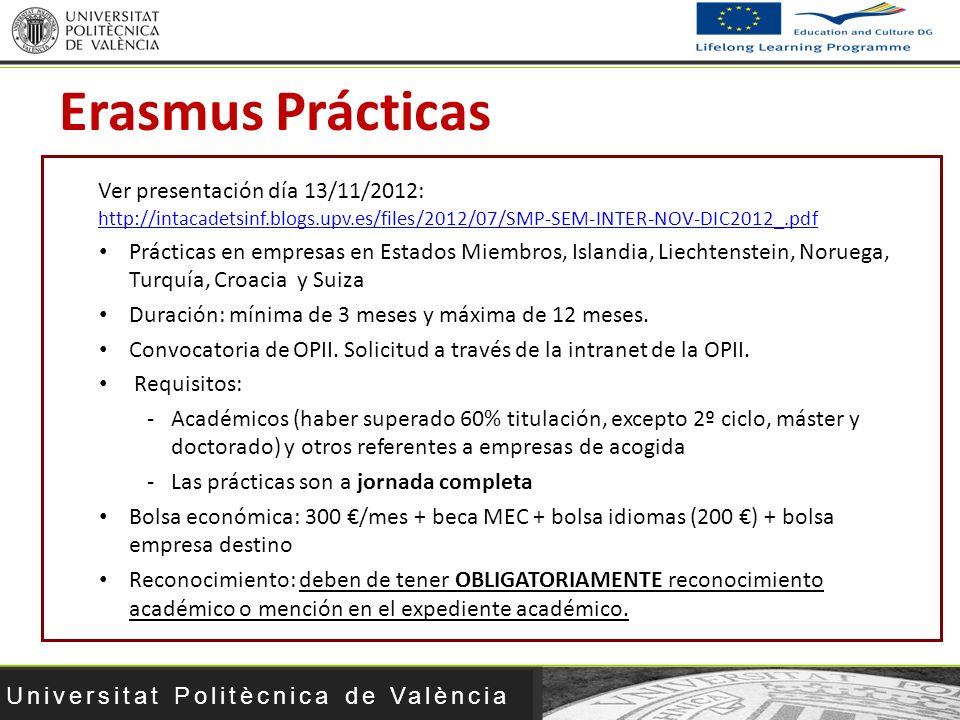 Erasmus Prácticas Ver presentación día 13/11/2012: http://intacadetsinf.blogs.upv.es/files/2012/07/SMP-SEM-INTER-NOV-DIC2012_.pdf.