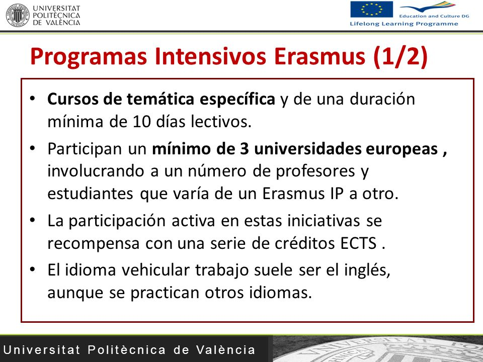 Programas Intensivos Erasmus (1/2)