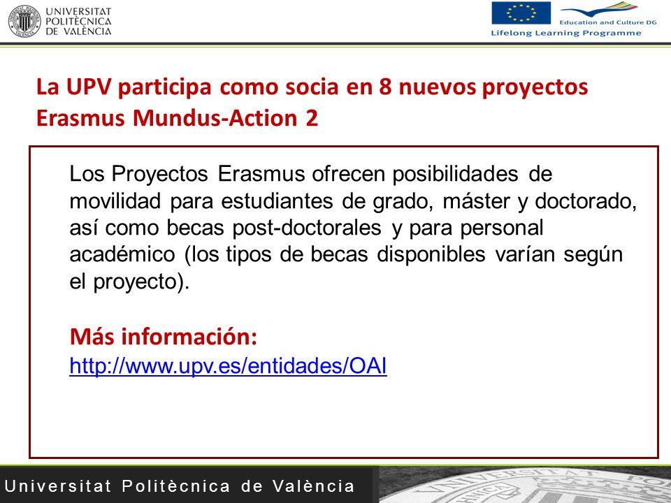 La UPV participa como socia en 8 nuevos proyectos Erasmus Mundus-Action 2
